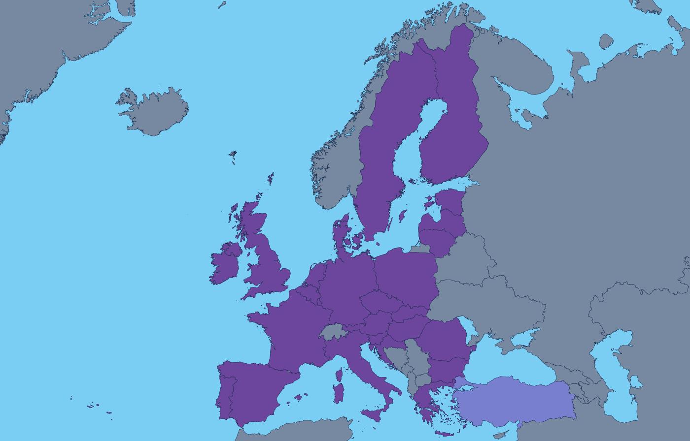 Kaart met alle leden van de Douane-unie