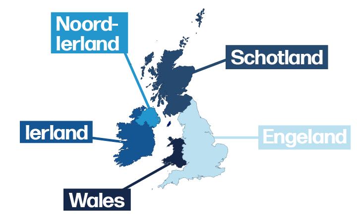 Kaart met de onderverdeling van het Verenigd Koninkrijk